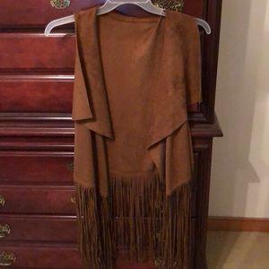 Brown micro suede fringe vest M-XL size